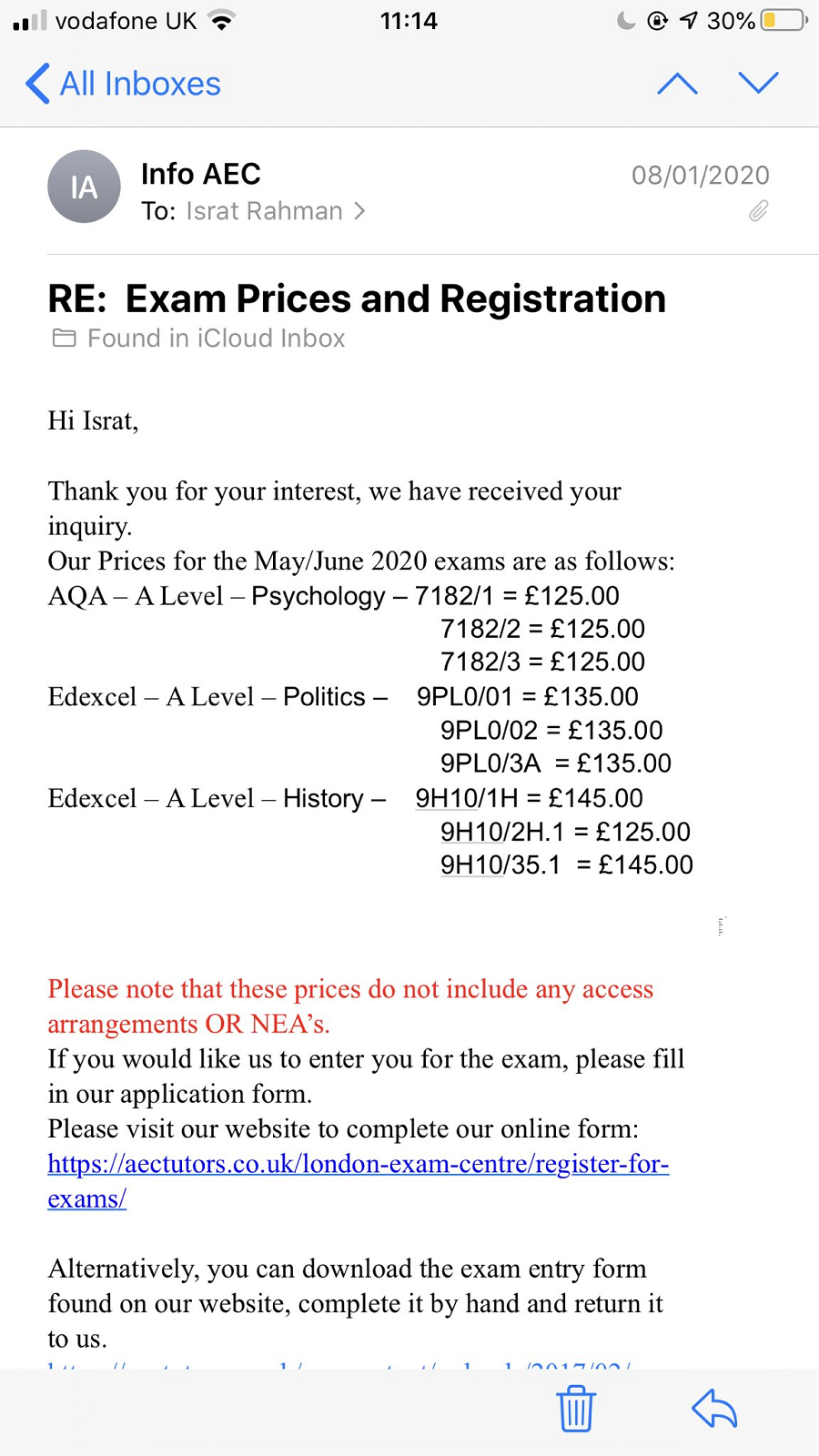 A Level Prices